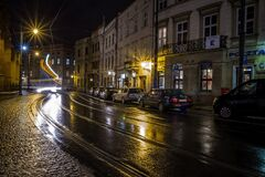 Krakow streets by night, Poland stock images