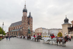Krakow Targowy kwadrat Zdjęcie Stock