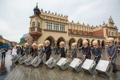 Krakow Theatre Night festival -KTO Teatre  in Main Market Square. Stock Photos