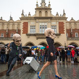 Krakow Theatre Night festival -KTO Teatre in Main Market Square Stock Photos