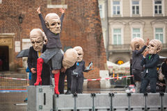 Krakow Theatre Night festival -KTO Teatre in Main Market Square Royalty Free Stock Photos
