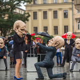 Krakow Theatre Night festival -KTO Teatre in Main Market Square Stock Photography