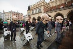 Krakow Theatre Night festival -KTO Teatre in Main Market Square. Stock Photo