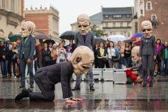 Krakow Theatre Night festival - KTO Teatre  in Main Market Square. Royalty Free Stock Photography