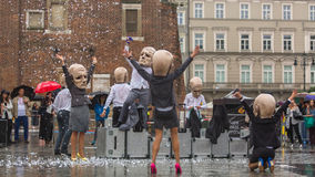 Krakow Theatre Night festival - KTO Teatre (Peregrinus) in Main Market Square Stock Image