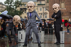 Krakow Theatre Night festival - KTO Teatre Peregrinus, written by J. Zon in Main Market Square. Stock Photography