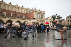 Krakow Theatre Night festival - KTO Teatre Peregrinus, written by J. Zon in Main Market Square Stock Images