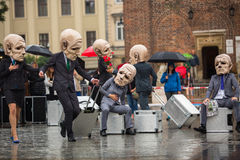 Krakow Theatre Night festival - KTO Teatre Peregrinus, written by J. Zon in Main Market Square. Royalty Free Stock Photo