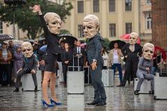 Krakow Theatre nocy festiwal - KTO Teatre w Głównym Targowym kwadracie Zdjęcia Royalty Free