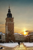 Krakow - Town Hall Tower - Poland. The Town Hall Tower at dusk in the main square (Rynek Glowny) in the old town district of Krakow in Poland Royalty Free Stock Photos