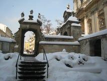 Krakow under snö arkivbild
