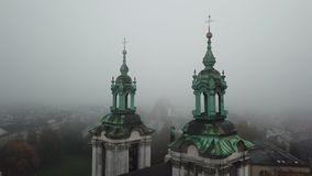 Krakow, veil of mist covered the town. Aerial View of Krakow, Wawel, Royal Castle, veil of mist covered the town stock video