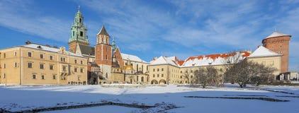 Krakow/vinter/medeltida slott poland royaltyfri foto
