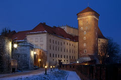 Krakow - Wawel Castle at night - Poland Stock Photo