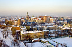 Krakow, Wawel fortress. Krakow's fortress Wawel (Poland) in wintertime, view from a balloon Stock Photos