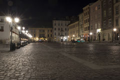 Krakowski nocą Mały Targowy kwadrat Obraz Royalty Free