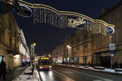 Krakowskie Przedmiescie street with Christmas decoration lights Stock Photos