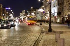 Krakowskie Przedmiescie Street at night, Warsaw Stock Photography