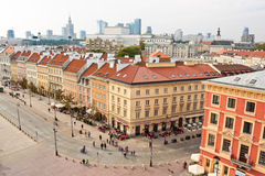 Krakowskie Przedmiescie street in Warsaw, view from above Royalty Free Stock Image