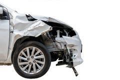 Kraksa samochodowa wypadek odizolowywający na bielu Zdjęcia Royalty Free
