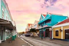 Commercial center at the waterfront of Kralendijk. Kralendijk, Bonaire - January 27th, 2018: Main commercial street with stores, Kralendijk Royalty Free Stock Photo