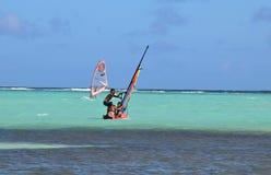 Kralendijk, Bonaire: 12/16/2017: Wind surfing on Sorobon Beach on the island of Bonaire. Wind surfing on Sorobon Beach on the Caribbean island of Bonaire stock photography