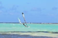 Kralendijk, Bonaire: 12/16/2017: Wind surfing on Sorobon Beach on the island of Bonaire. Wind surfing on Sorobon Beach on the Caribbean island of Bonaire stock images