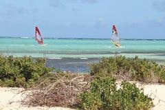 Kralendijk, Bonaire: 12/16/2017: Wind surfing on Sorobon Beach on the island of Bonaire. Wind surfing on Sorobon Beach on the Caribbean island of Bonaire stock image