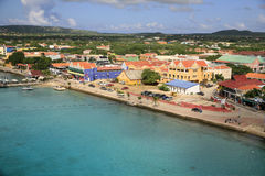 Kralendjk, Bonaire. A general view of Kralendjk, capital of Bonaire. This shows the main road along the waterfront with the office and shopping buildings. This Royalty Free Stock Image