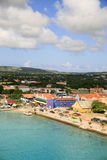 Kralendjk, Bonaire. A panoramic view of Kralendjk, capital of Bonaire. This shoes the main shopping area with the Dutch style buildings. This would make a great Stock Photography