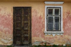 Kralovany village in Orava region. Door of an old house in Orava region, Slovakia royalty free stock image