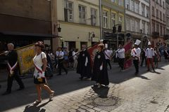The Corpus Christi processions in Krakow Poland are every year in May. Poland is a Catholic Country and people are very religious. Kralow is called the city of stock photos