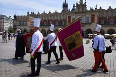 The Corpus Christi processions in Krakow Poland are every year in May. Poland is a Catholic Country and people are very religious. Kralow is called the city of royalty free stock images