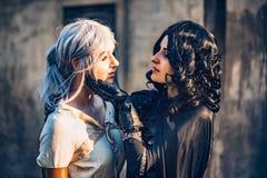 Kram för två härlig flickor för fantasi cosplay Arkivfoton