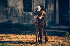 Kram för två härlig flickor för fantasi cosplay Arkivfoto