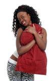 krama den skämtsamma kvinnan för jamaican kudde Arkivbild