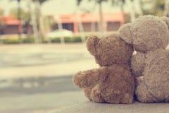 Krama för två nallebjörnar royaltyfria foton