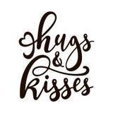 ` Kramar och kysser ` - dragen bokstäver för vektor handen vektor illustrationer
