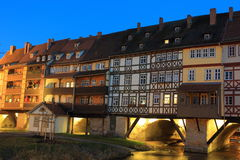 Kramer brigde in Erfurt. In sunset, Germany royalty free stock photos