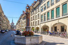 Kramgasse street with fountains in Bern Stock Image