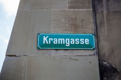 Kramgasse street sign in Bern, Switzerland Royalty Free Stock Image