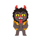 Krampus, Austrian christmas devil. Christmas devil Krampus, Santa`s companion in Austria. With traditional backpack basket, grimacing and sticking out tongue Royalty Free Stock Photos