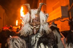 Krampus Devil Mask At Traditional Procession `Parkelj Gathering` Royalty Free Stock Images