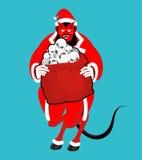 Krampus Satan Santa Κόκκινος δαίμονας Claus με τα κέρατα Χριστούγεννα monst Στοκ Φωτογραφία
