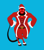 Krampus Satan Santa. Claus red demon with horns. Christmas monst. Er for bad children and bullies. folklore evil. Devil with beard and mustache Royalty Free Stock Photography