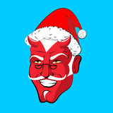 Krampus Satan Santa. Claus red demon with horns. Christmas monst Stock Photography