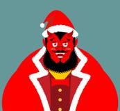 Krampus Satan Santa. Claus red demon with horns. Christmas monst Stock Image