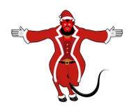 Krampus Satan Santa. Claus red demon with horns. Christmas monst Royalty Free Stock Image