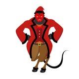 Krampus Satan Santa. Claus red demon with horns. Christmas monst Stock Photos
