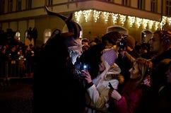 Krampus show. In Žatec 6.12.2015 Royalty Free Stock Image